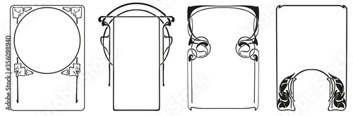 Obraz Frames with style Art Nouveau ornament vector set. - fototapety do salonu