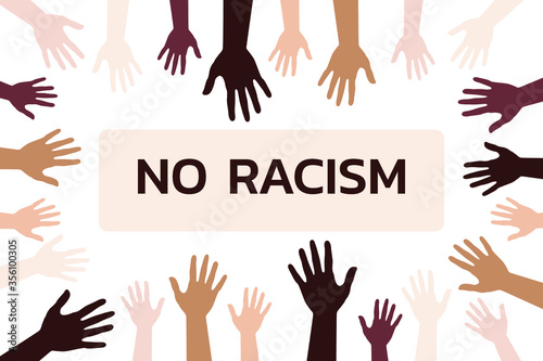 The inscription no to racism and a mix of many hands of different skin colors. Stop racism. The concept of black lives matter protests in the USA