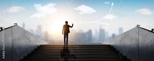 Photo successful businessman, success business, achievement man standing on top of sta