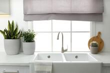 Ceramic Sink And Modern Tap In...
