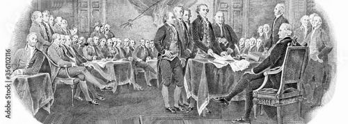 Photo Engraved modified reproduction of the painting Signing of the Declaration of Independence in 1776 (painting by John Trumbull)