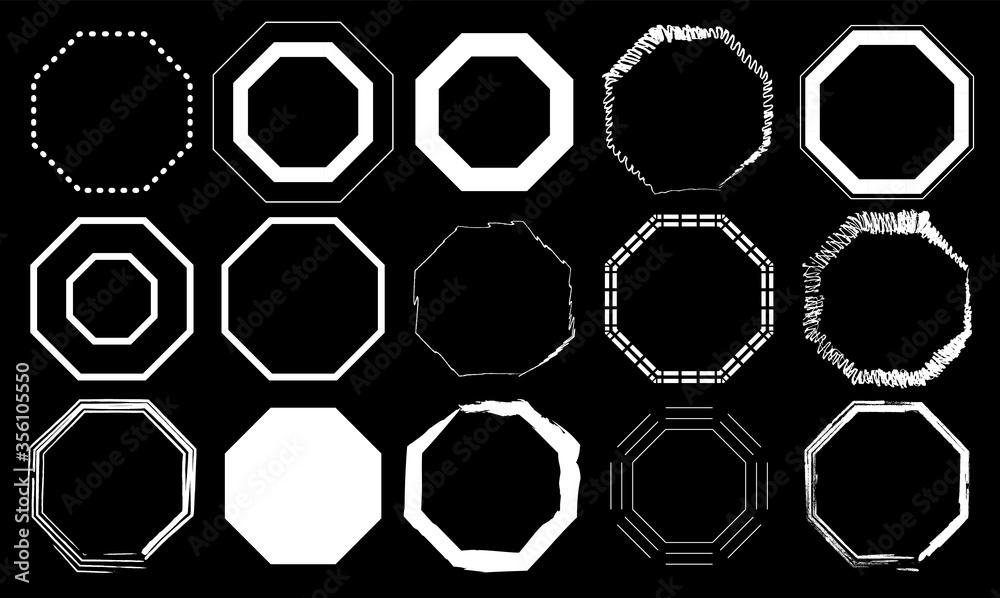 Fototapeta Black and white Octagon Pack 15 in 1. Vector illustration