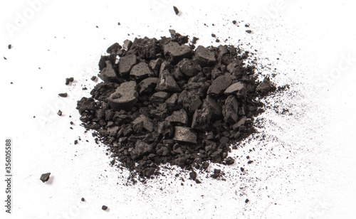 Photo Activated carbon powder isolated on white. Health concept