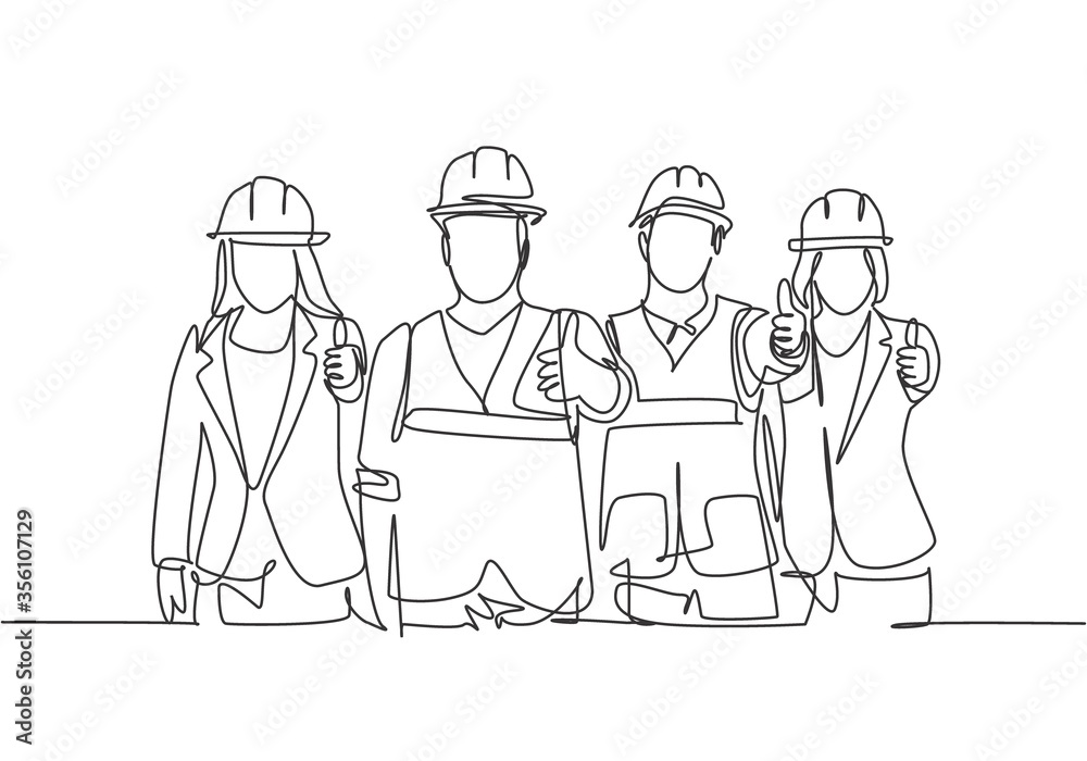 Fototapeta One line drawing of young happy male and female building builder groups wearing helmet giving thumbs up gesture. Great team work concept. Trendy continuous line draw design graphic vector illustration