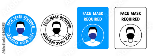 Obraz Set of signs face mask required - fototapety do salonu