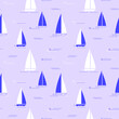 Seamless patter with stylized sailboats and sea wave. Vector illustration.