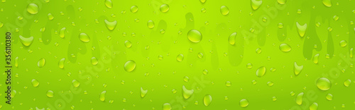 Water drops banner background. Rainfall over colorful glass surface. Green color drink beverage concept. 3d realistic vector illustration.