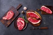 Variety Of Fresh Black Angus Prime Raw Beef Steakes