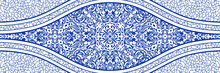 Majolica Pottery Tile, Blue And White Azulejo, Original Traditional Portuguese And Spain Decor. Seamless Border With Victorian Motives. Vector Illustration.