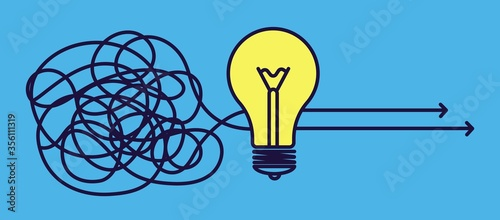 Fototapeta Goal solution. Idea concept, creative brainstorm or change mind. Effective strategy, no problem metaphor with light bulb vector illustration. Solution idea and creativity brainstorming obraz