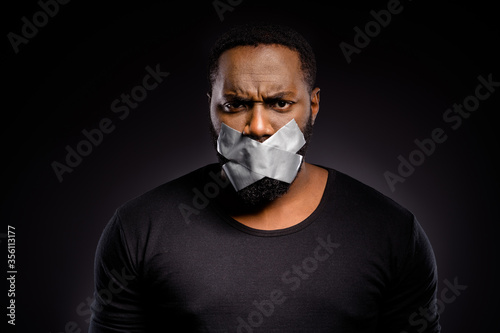 Fotografie, Obraz Close up photo of serious afro american voiceless speechless guy close cover adh