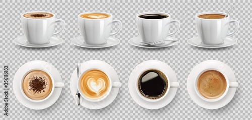 Photo 3d realistic vector isolated white cups of coffee with spoon, top and side view,