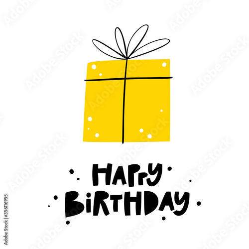Obraz na plátně Happy birthday greeting card or party invitation with gift box