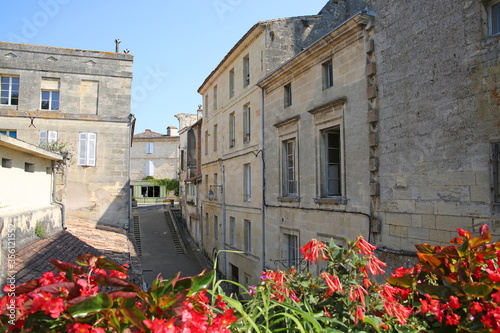 Traditional buildings in Bourg, which is a village located on the  bank of the Dordogne, in the heart of the wine appellation of Côtes de Bourg, Gironde, Nouvelle-Aquitaine, southwestern France Canvas Print