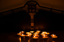 Burning Candles At A Church.