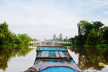 Fishing Boat In The Mekong Delta In Vietnam. South East Asia
