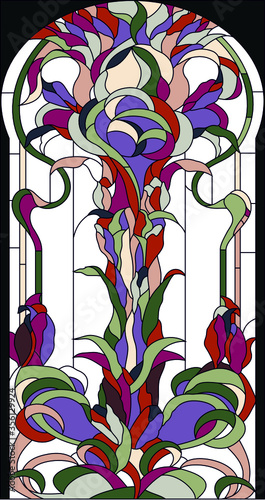 Naklejka kwiaty na szybę  stained-glass-window-in-a-classical-style-with-flowers-grass-and-leaves