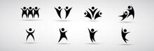 Abstract People Logo Set. Huma...