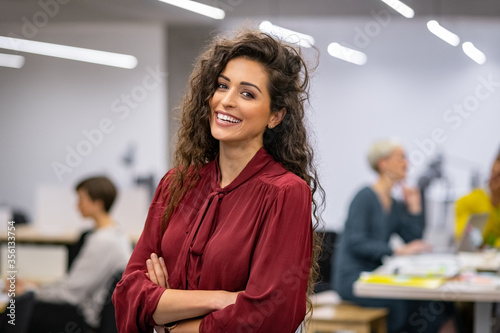 Fototapeta Successful casual business woman smiling obraz