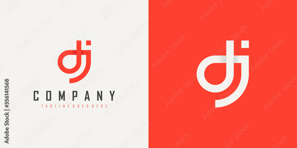 Fototapeta Abstract Initial Letter D and J Linked Logo. Red Linear Style isolated on Double Background. Usable for Business, Technology and Branding Logos. Flat Vector Logo Design Template Element.