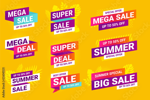 Fototapeta Summer sale. Vector illustrations for social media ads and banners, website badges, marketing material, labels and stickers for products promotions, graphic templates. obraz