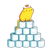 Cute Orange Kitten With A Crown Sitting On A Toilet Paper Mountain. Design For Stickers, T-shirts, Posters, Cards. Isolated On White Background