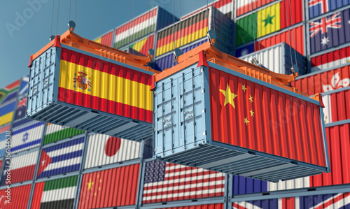Fotografie, Tablou Freight containers on a Terminal with Spain and China flag