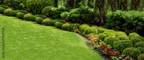 well maintained garden landscape with flower bed of green bushes and green meadow lawn on sunny summer park with a lot plants, nobody Wallpaper Mural