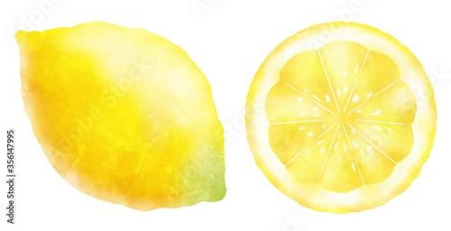 Photo 水彩タッチのフレッシュなレモン果実と輪切り