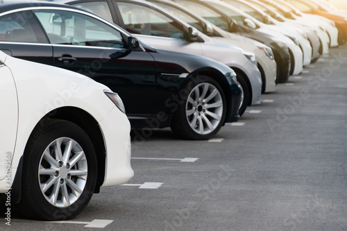 Cars in a row. Used car sales Fototapet