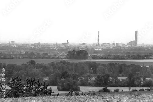 Fototapeta WROCLAW, POLAND - MAY 28, 2020: Panorama of Wroclaw, view from the Trzebnica hills (20 km in a straight line). obraz na płótnie