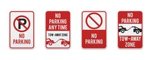 Graphic No Parking Signs. Classic Design Road And Street Signs. Vector Elements For Production, Graphic Design, Posters Or Information Materials.