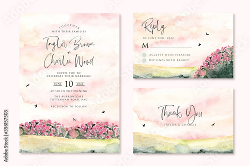 Obraz wedding invitation set with dreamy pink garden watercolor landscape - fototapety do salonu