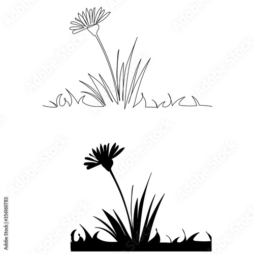 Obraz white background, continuous line drawing of a flower with grass - fototapety do salonu