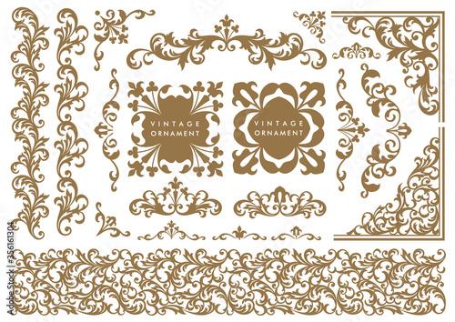 Fototapeta set of decorative elements for design. vintage ornament set. borders and frames. obraz