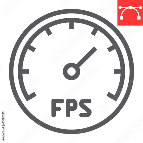 Frames Per Second line icon, video games and fps, fps speedometer sign vector graphics, editable stroke linear icon, eps 10 Canvas Print