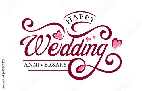 Foto Decorative Calligraphy/Lettering design for Wedding Anniversary greetings on white background