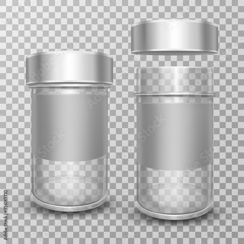 Realistic vector illustration of empty glass jars with open and closed metal caps, isolated on transparent background Poster Mural XXL