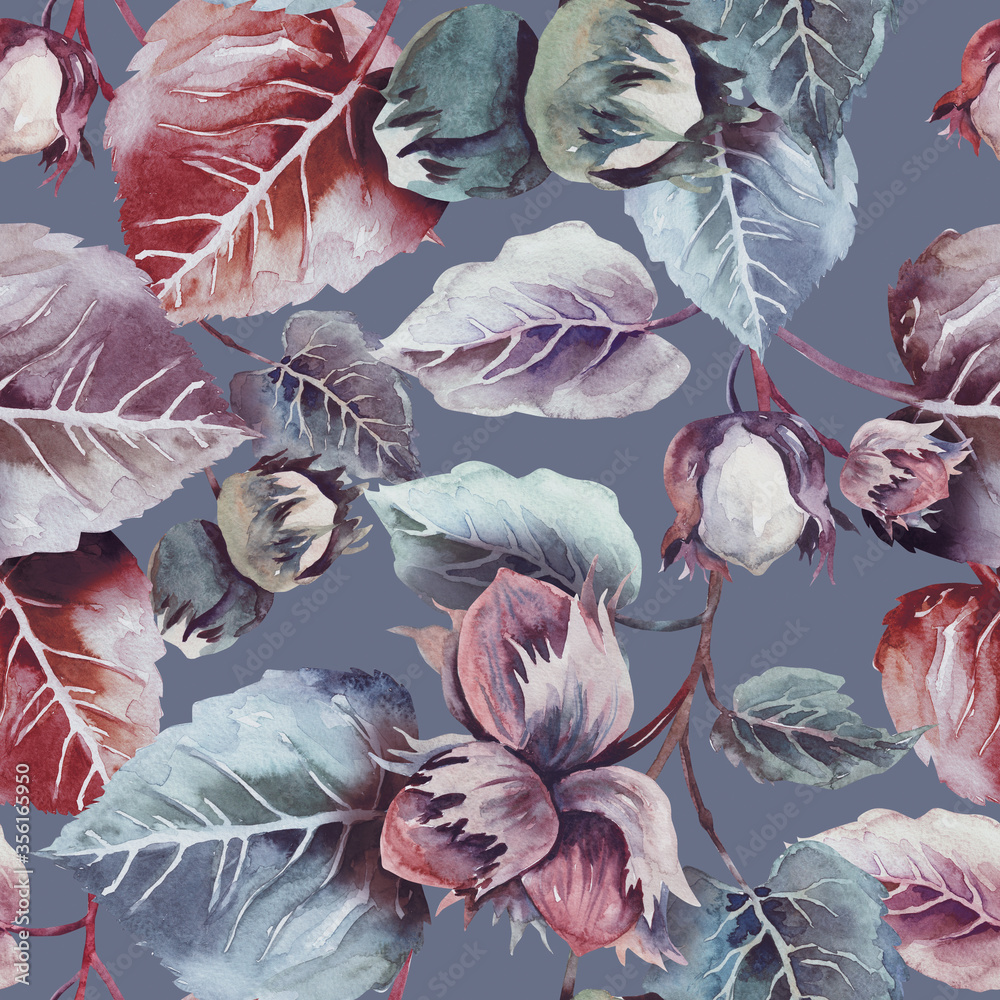 Fototapeta Nuts Seamless Pattern. Watercolor Background.