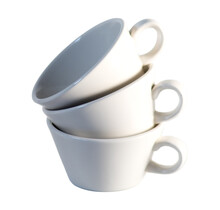 Stack Of Three Small White Coffee Cups