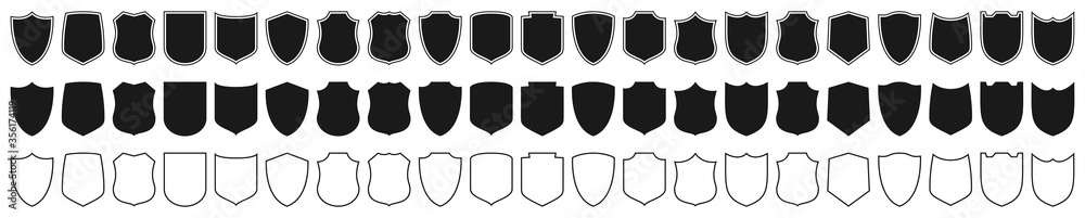 Fototapeta Shields set. Collection of security shield icons with contours and linear signs. Design elements for concept of safety and protection. Vector illustration.