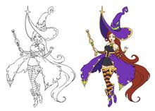 Beautiful Cartoon Witch Wearing Big Halloween Hat And Purple Dress.