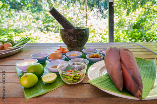 Local and traditional Ingredient for Yum Hua Plee (Banana blossom salad), is prepared to cook the Thai food Wallpaper Mural