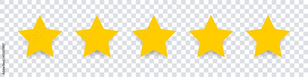 Fototapeta Star icon. Vector yellow isolated five stars. Customer feedback concept. Vector 5 stars rating review. Quality shape design.
