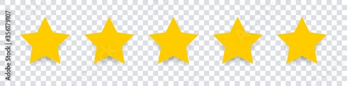 Obraz Star icon. Vector yellow isolated five stars. Customer feedback concept. Vector 5 stars rating review. Quality shape design. - fototapety do salonu