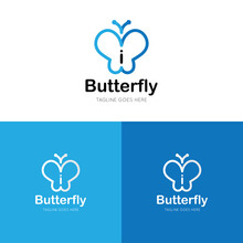 Initial Letter I Butterfly Logo And Icon Vector Illustration Design Template