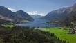 Flight over of Grundlsee lake in Salzkammergut, Styria, Austria