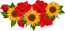 Yellow Sunflowers And Red Roses