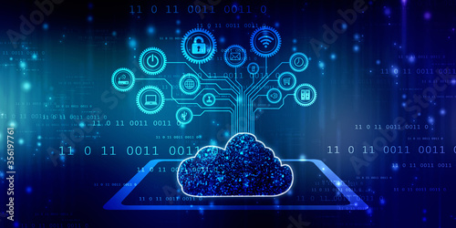 Obraz 2d rendering technology Cloud computing  - fototapety do salonu