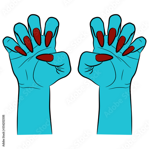 Vászonkép Two scary blue human hands with clenched fingers and long red nails in aggressive gesture